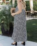 Loose Waist V-Neck Spagetti Strap Leopard Print Maxi Dress