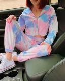 Pink-Blue Tie Dye High Waisted Hooded Two Piece Pajama Set