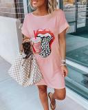Lip Print Summer Casual Mini Dress