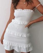 Fashion Slim Pleated Sling Mini Dress