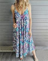 Bohemian Sleeveless  V Neck Holiday Dresses Shift Daytime Maxi Dresses