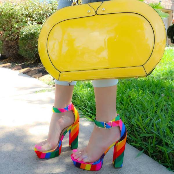 Rainbow Chunky Heeled Sandals