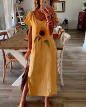 Floral Print Casual Short Sleeves Slit Maxi Dress