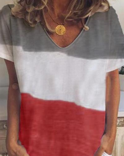 Short Sleeve Casual Striped V Neck T-shirt For Women