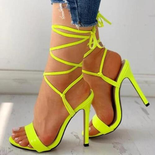 Open-toe Bandage Lace-up Thin Heeled sandals