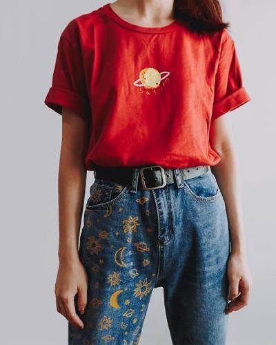 Planet Printed Simple Short Sleeve T-Shirt