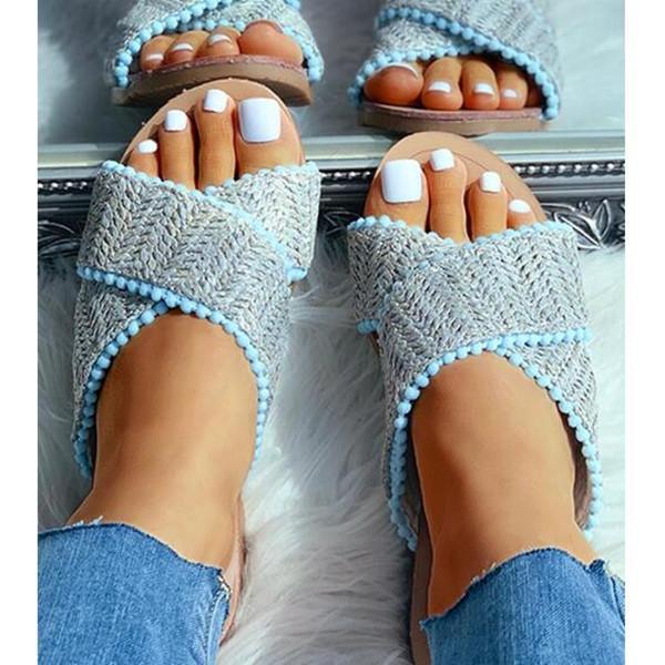 Open Toe Pompom Platforms Sandals