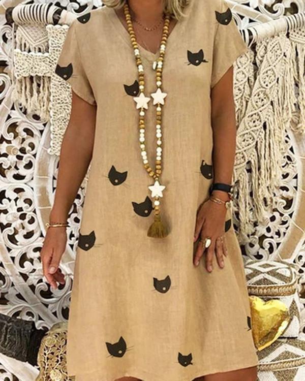 V Neck Women Summer Dresses Shift Daytime Casual Dresses