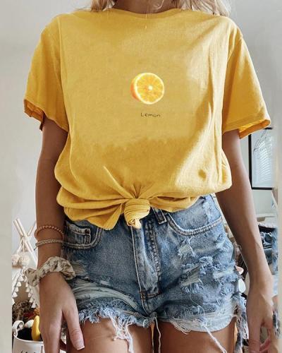 Short Sleeve Loose Wild Fruit Print T-shirt
