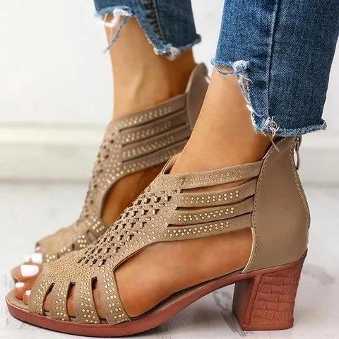 Women Peep Toe Elegant Chunky Heel Sandals