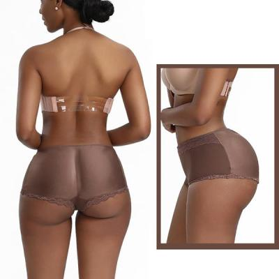 LACE THIN MID WAIST FAKE BUTTOCK TRIANGLE PANTIES