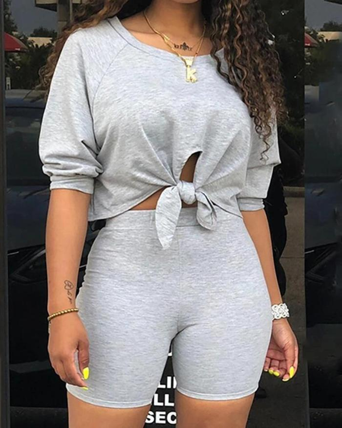 Solid Knotted Detail Sporty Top & Short Set