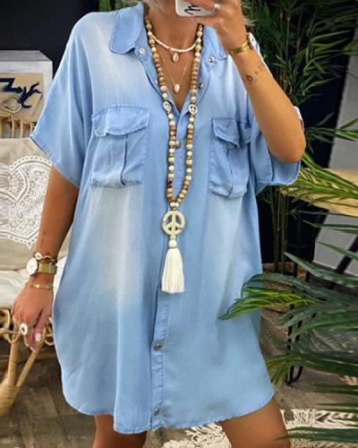 Women's A-Line Knee Length Dress Summer Shirt Collar Dress