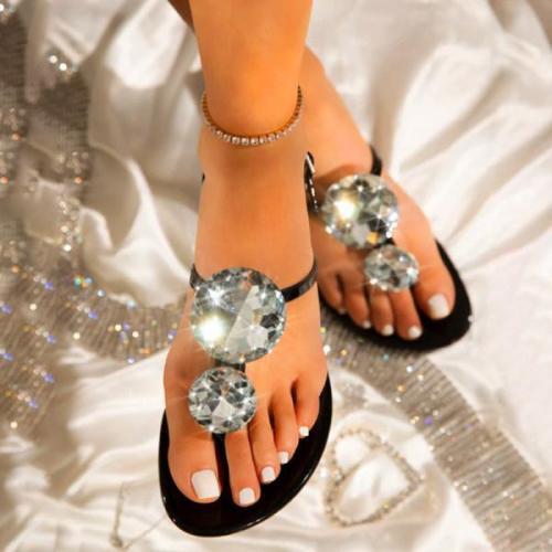 Women's flat Sandals with Rhinestones