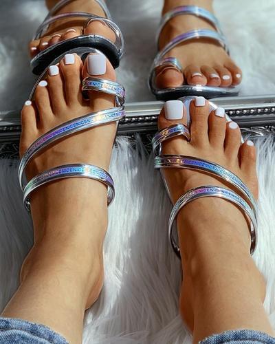 Toe Ring Letter Pattern Flat Sandals
