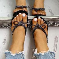Glitter Bowknot Design Toe Post Sandals