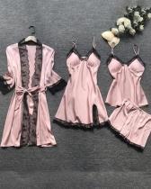 Satin Lace Trim 5PCS Sleepwear Sets