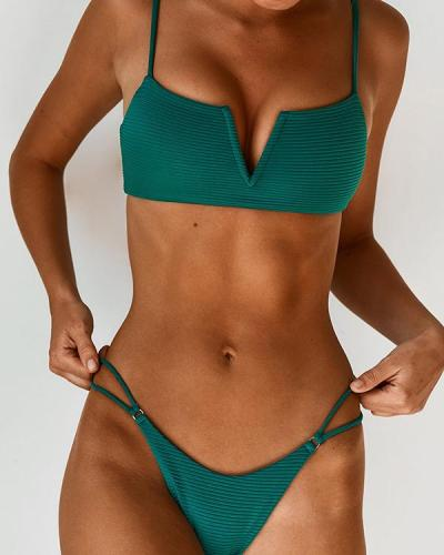 V Wired Top With Ring Link Thong Bikini Set
