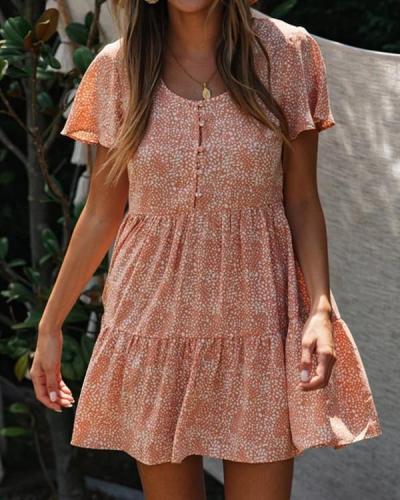 Single Breasted Printed V-Neck Skirt Slim Short Sleeve Mini Dress