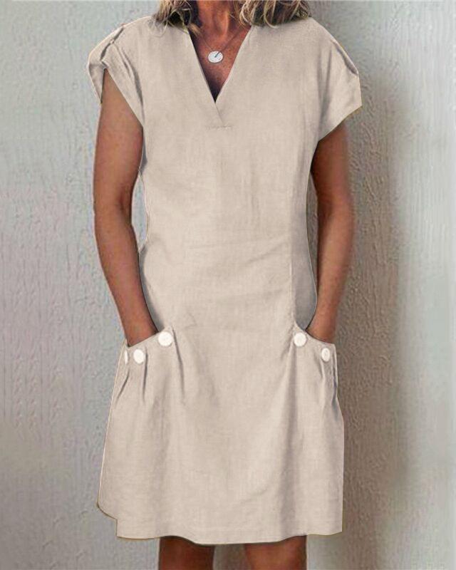 Solid Short Sleeve Casual Mini Dress