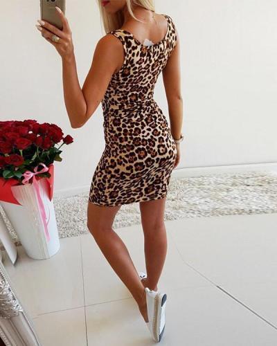 Sexy Multicolor Leopard Low Cut U-Neck Mini Dress