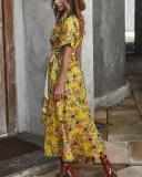 Women's Floral Print Short Sleeve Cross Lace-up Waist Elegant Ladies Dresses