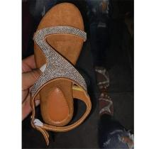 Flat Rhinestones Open Toe Sandals