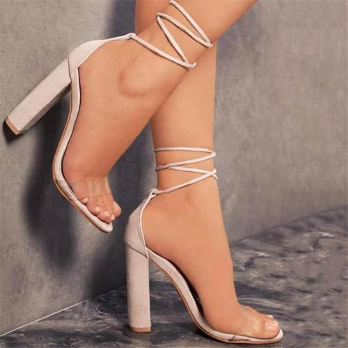 Lace-Up Open Toe Chunky Heel Ankle Strap Sandals