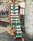 V Neck Printed Sleeveless Shift Dress