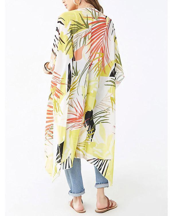 Women's New Loose Colored Leaves Mid-length Beach Cardigan