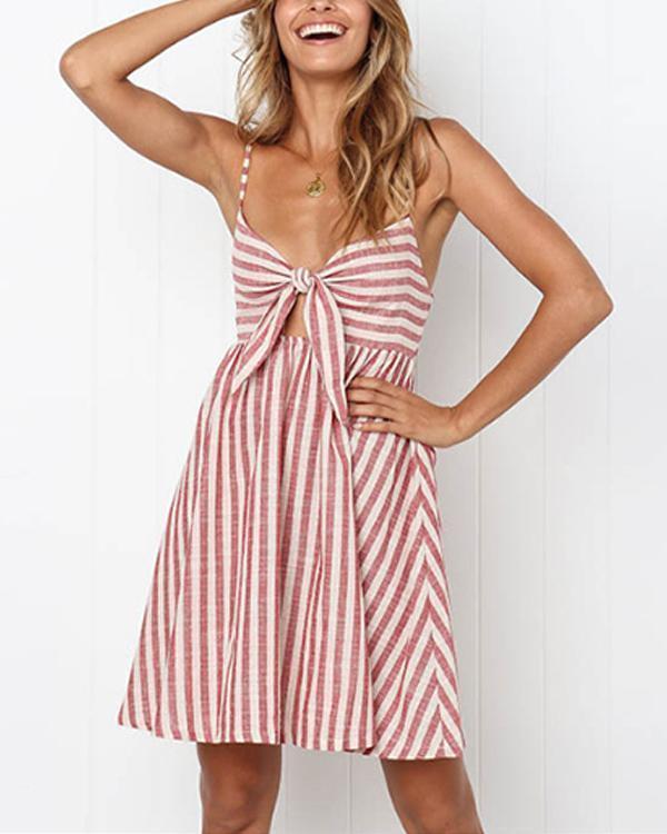 Lace butterfly stripe halter belt casual high waist skirt dress