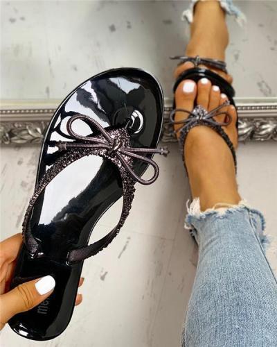 Glitter Bowknot Design Toe Post Sandals