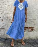 Casual Solid Color Printed Short-Sleeved Maxi Dress