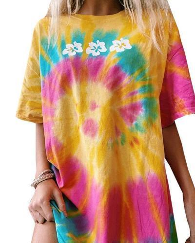 Casual Short Sleeve Flower Tie Dye Tee