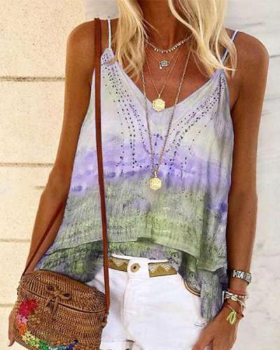Bohemian casual printed loose sling T-shirt