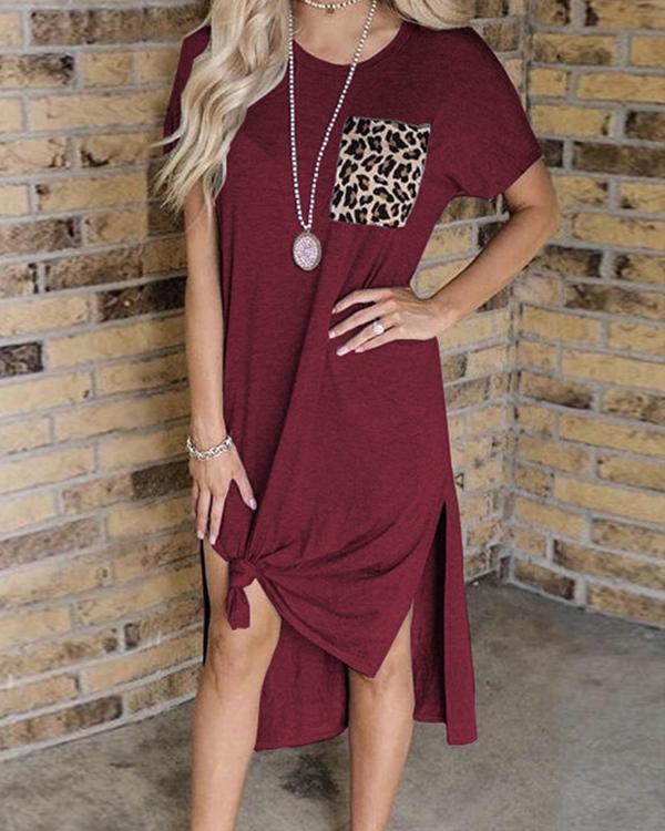Leopard Pocket Slit Casual Dress without Necklace