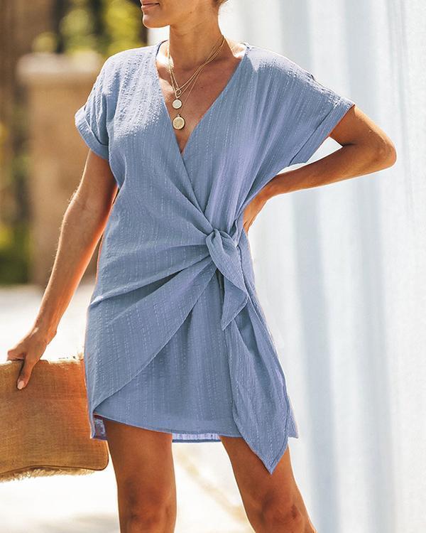 Women Cross V Neck Tie Mini Dress