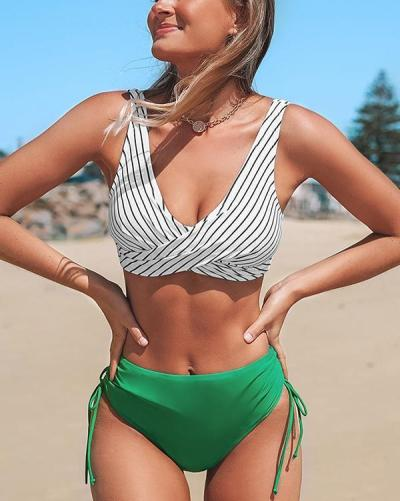 Stripe Bikini With Green Cinched Bottom