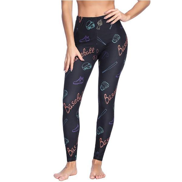 BEWITCHING FULL LENGTH BRUSHED TIGHTS SPORTS PRINT