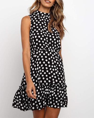 Sleeveless Polka Dot High Neckline A-Line Ruffled Mini Dress