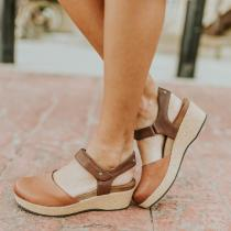 Summer Flat  Buckle Solid Color Sandals