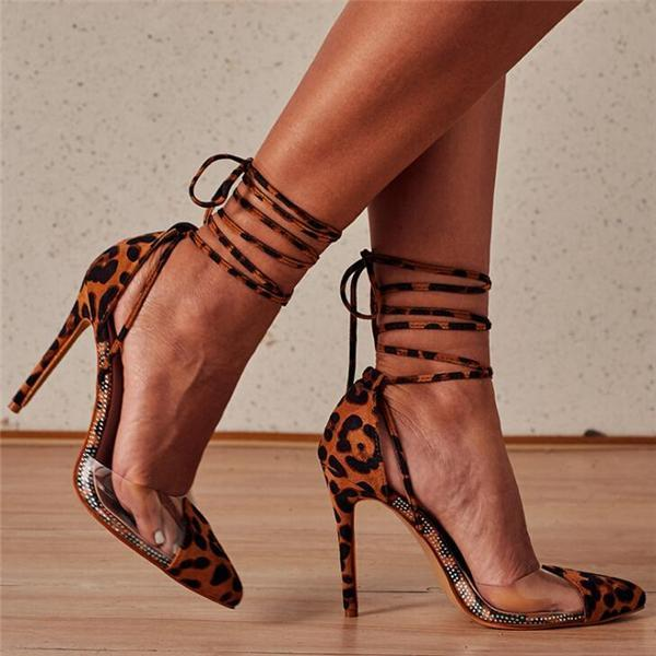 Fashion High Heels Women Leopard Sandal Shoes