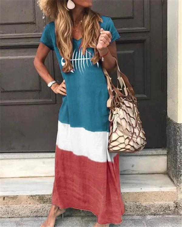 Printed Short Sleeve V Neck Bohemian Plus Size Maxi Dress