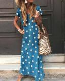 V Neck Casual Short Sleeve Flower Print Maxi Dresses