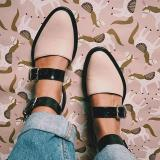 2020 Fashion Trends Low Heel Color block Buckle Flats