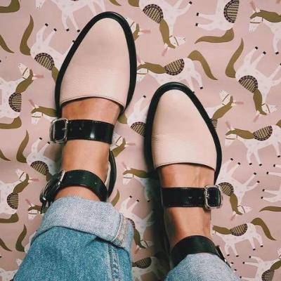 2020 Fashion Trends Low Heel Color block Buckle Flats