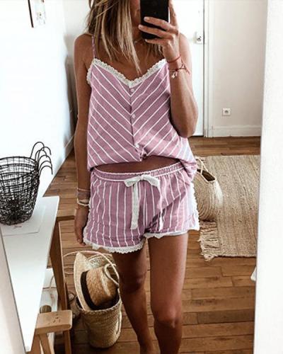 Lace-up Strap V-Neck Stripe Attractive Top & Short Sets