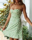 Straps Sweetheart Neck Floral Print Mini Dress