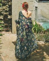 Floral Print Beach Print Chiffon Long Cardigan