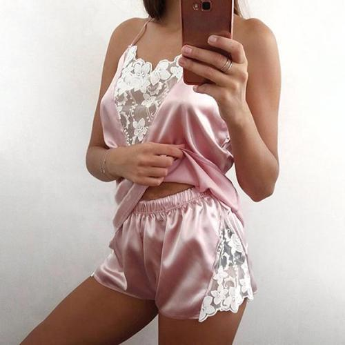 SEXY LINGERIE SIMULATION SILK SLEEPWEAR SET